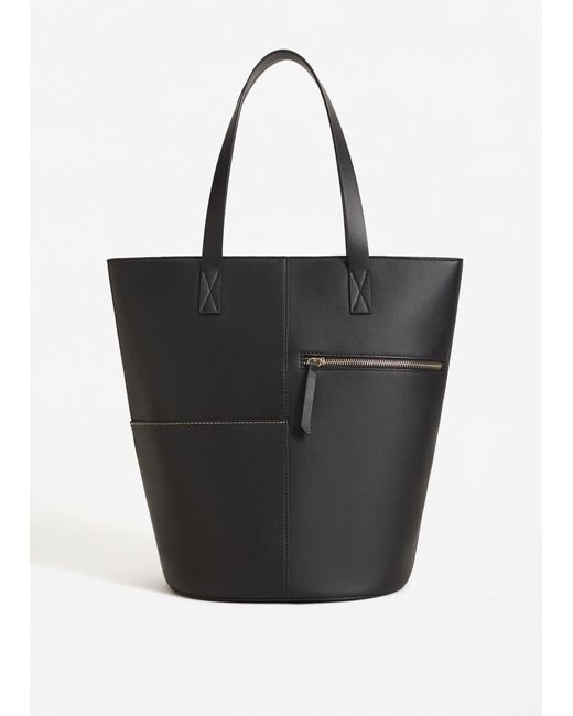 Mango | Black Zip Shopper Bag | Lyst