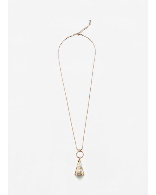 Mango | Metallic Geometric Pearl Necklace | Lyst