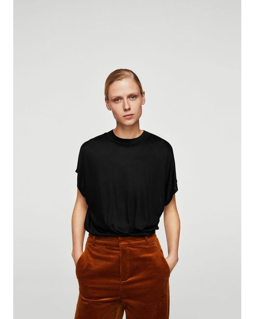 Mango | Black Flowy T-shirt | Lyst