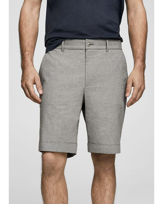 Mango - Gray Chino Bermuda Shorts for Men - Lyst