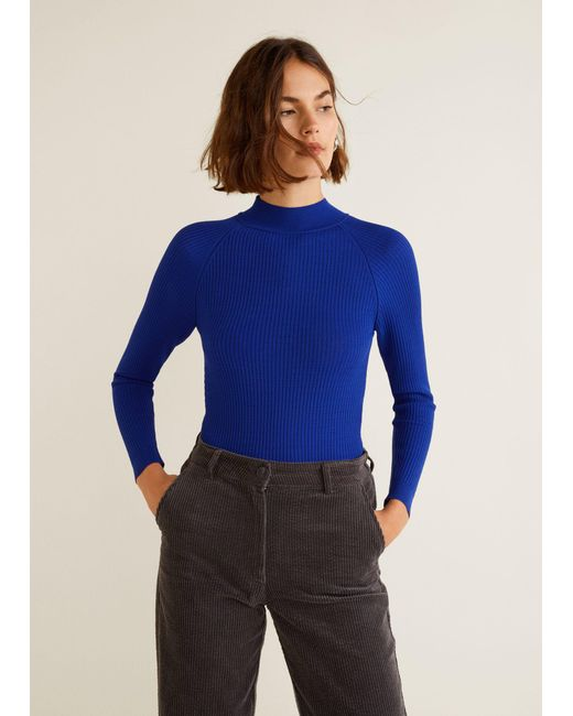 Mango - Blue High Collar Ribbed Knit Sweater - Lyst