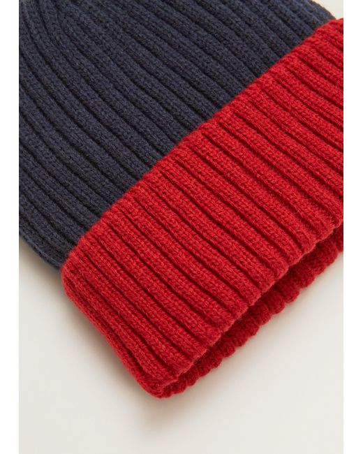 Mango - Red Bicolor Knit Beanie for Men - Lyst