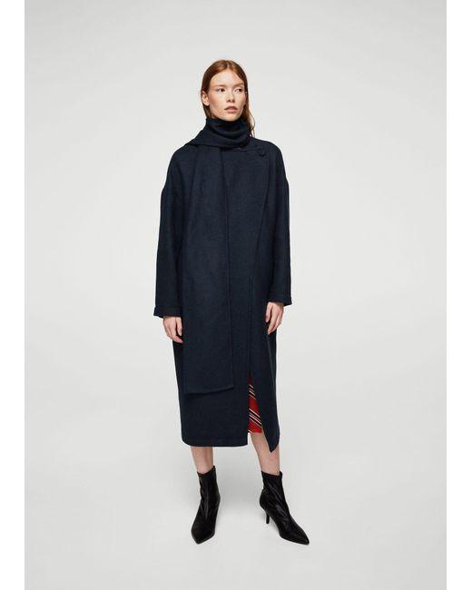 Mango | Blue Contrast Wide Lapel Coat | Lyst