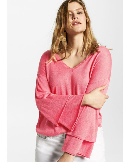 160187ee411 By Mango Violeta Wool Pink In Sweater Lyst V Neck qw1WE