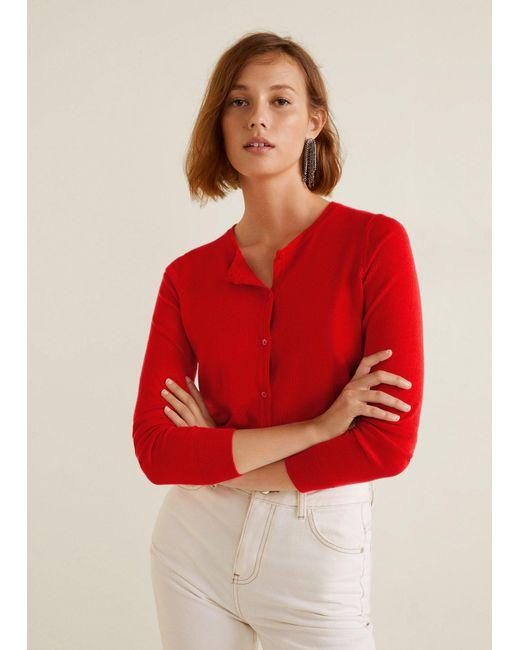 Mango - Red Button Knit Cardigan - Lyst