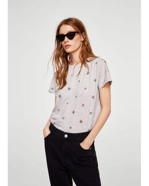 Mango - Gray Printed Cotton-blend T-shirt - Lyst