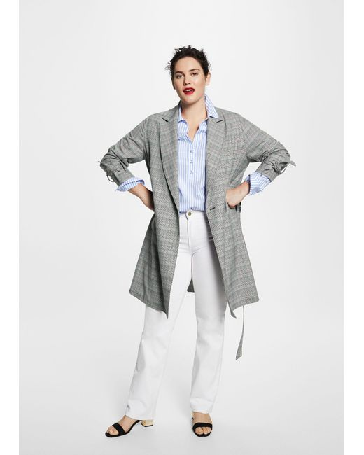 Violeta by Mango - Gray Prince Of Wales Trench - Lyst