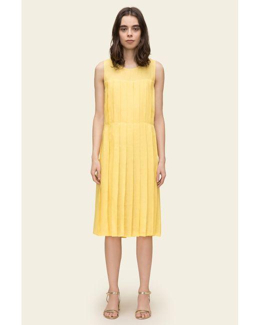 Mansur Gavriel - Yellow Linen Pleated Sleeveless Dress - Sun - Lyst ... 010f969ad