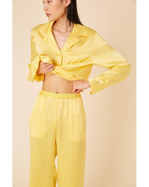 0b0b957a49aef ... Mansur Gavriel - Yellow Silk Charmeuse Pajama Pant - Sun - Lyst ...
