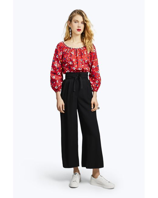 Marc Jacobs | Red Painted Flower Peasant Blouse | Lyst