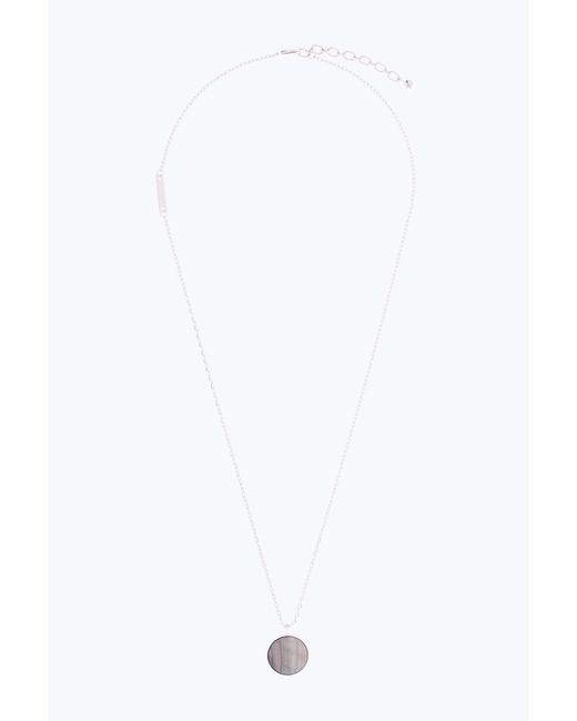 Marc Jacobs - Metallic Pearlescent Logo Pendant Necklace - Lyst