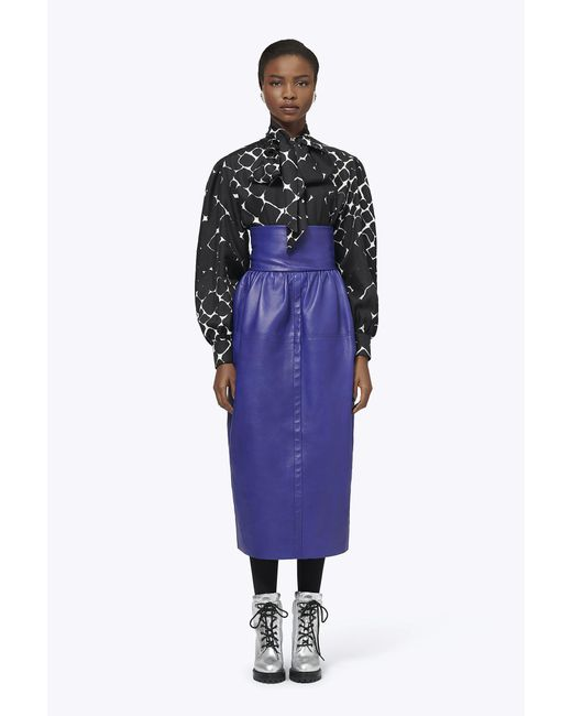 Marc Jacobs - Purple Silk Abstract Diamond Pussy-bow Blouse - Lyst
