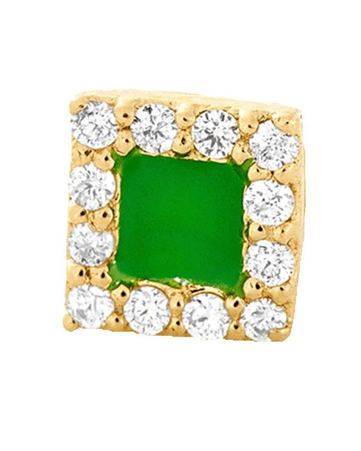 Alison Lou - Green Enamel And Diamond Stud - Lyst
