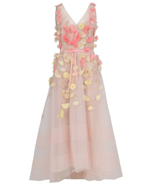 Marchesa notte - Pink Floral Embroidered Dress - Lyst