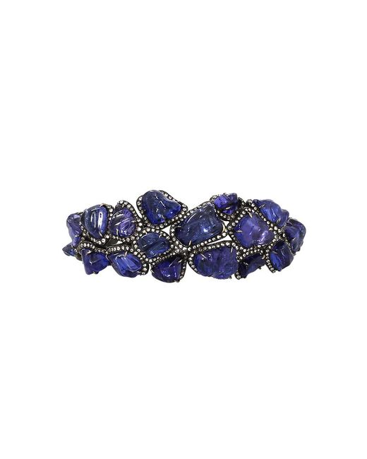Arunashi | Blue Tanzanite And Diamond Bangle | Lyst