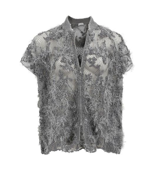Brunello Cucinelli | Gray Floral Embroidered Cardigan | Lyst