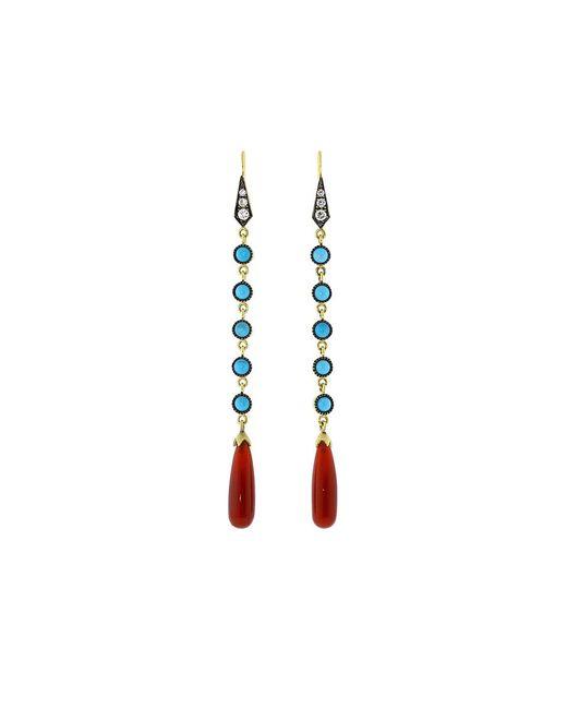Sylva & Cie | Multicolor Carnelian And Turquoise Long Drop Earrings | Lyst