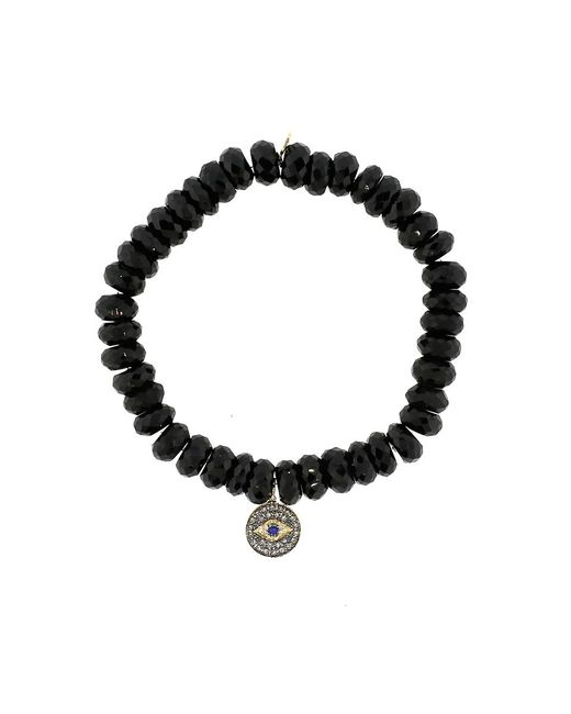 Sydney Evan | 8Mm Faceted Black Spinel Beaded Bracelet With 14K Gold/Rhodium Diamond Small Evil Eye Charm (Made To Order) | Lyst