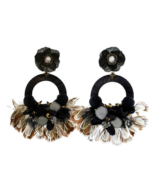 Ranjana Khan | Black Drop Hoop Feather Earrings | Lyst