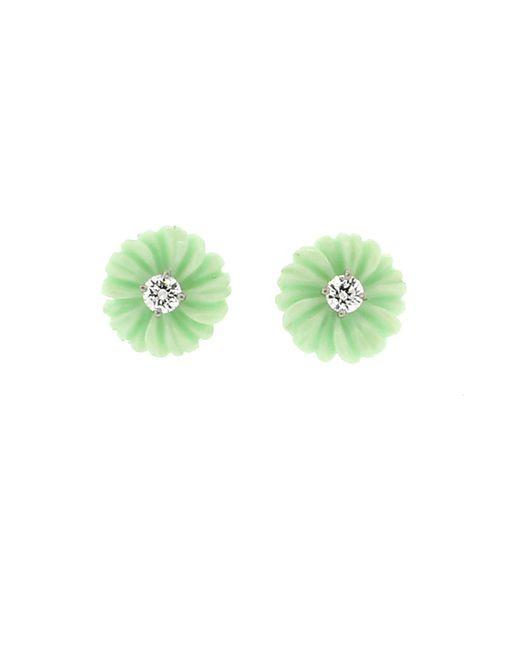 Irene Neuwirth | Carved Green Opal And Diamond Flower Stud | Lyst