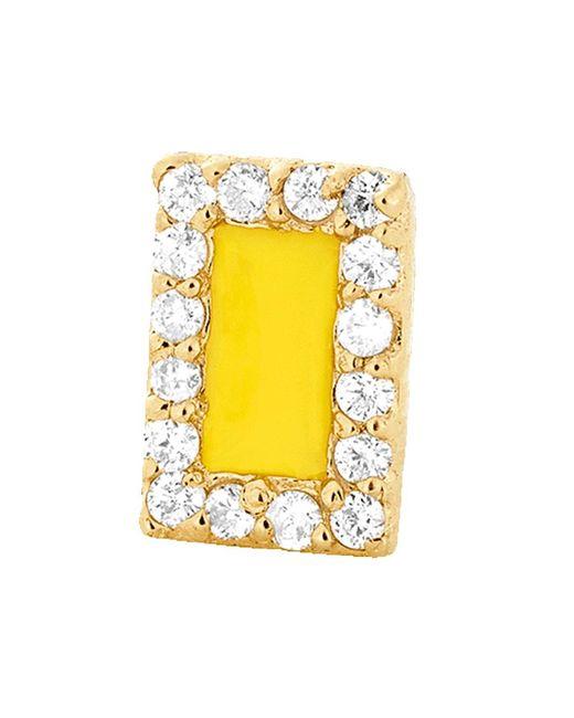 Alison Lou - Yellow Enamel And Diamond Stud - Lyst