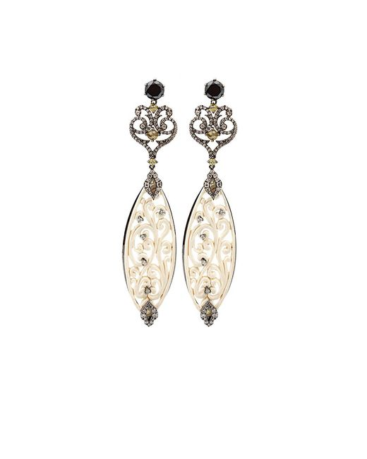 Bochic - White Carved Mammoth Drop Earrings With Diamonds - Lyst