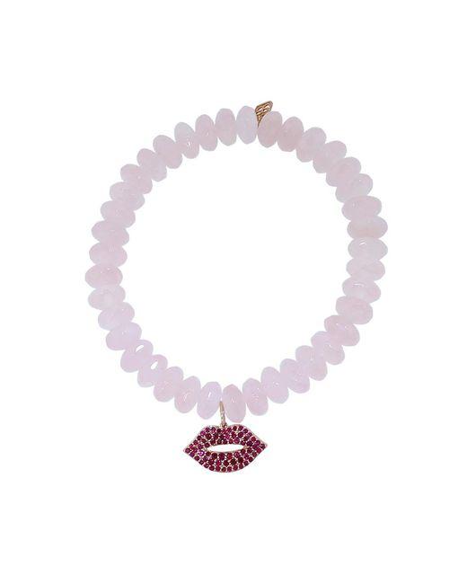 Sydney Evan - Multicolor Ruby Lips Rose Quartz Rondelle Beaded Bracelet - Lyst
