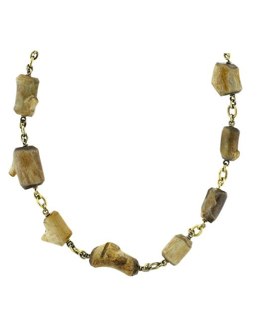 Sylva & Cie | Metallic Fossilized Alaskan Coral Bead Necklace | Lyst