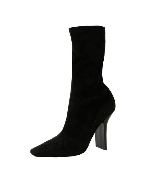 Stella McCartney | Black Stretch Square Toe Heel Booties | Lyst