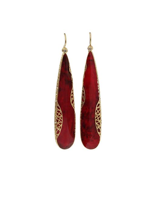 Yossi Harari - Metallic Ruby Slice Lace Earrings - Lyst
