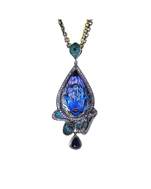 Sevan Biçakci - Blue Carved Peacock Lotus Neckace - Lyst