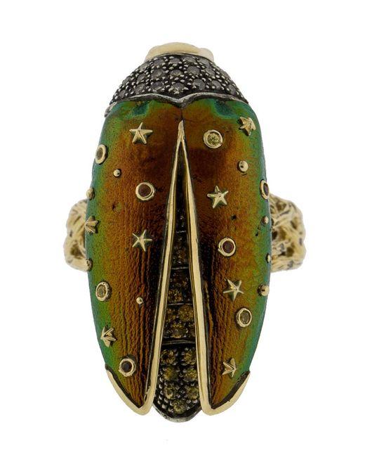 Bibi Van Der Velden - Green Scarab Fly Yellow-gold Ring - Lyst