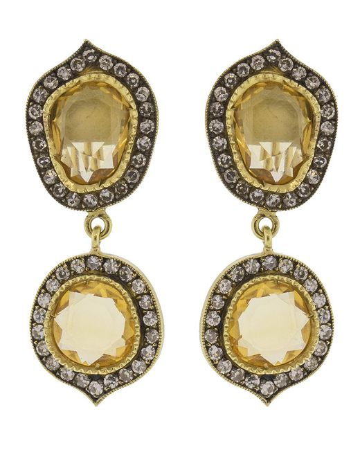 Sylva & Cie - Metallic Citrine Slice Earrings - Lyst
