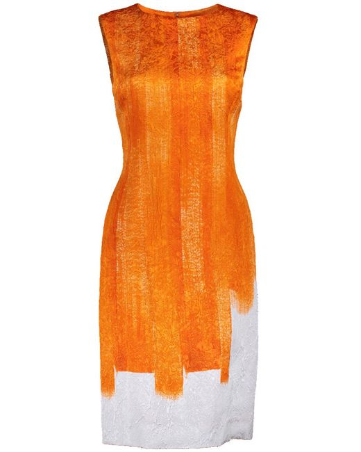 Oscar de la Renta - Orange Slim Brush Stroke Printed Dress - Lyst