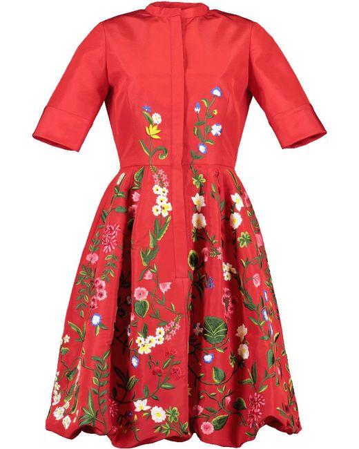Oscar de la Renta - Balloon Bottom Embroidered Dress - Lyst