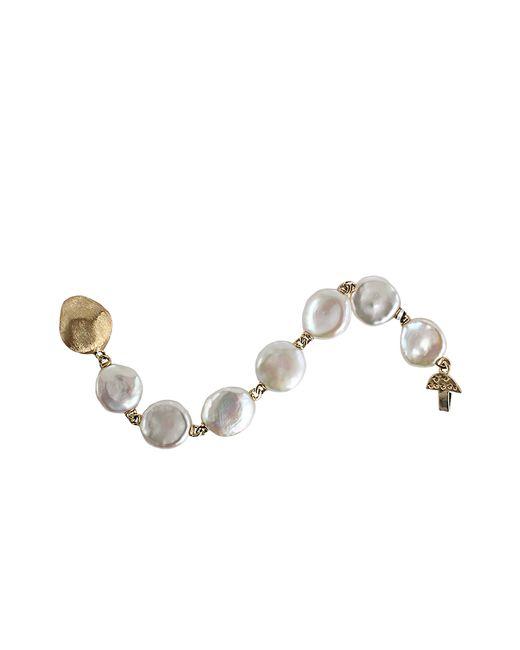 Yvel | Metallic White Keshi Fresh Water Pearl Bracelet | Lyst