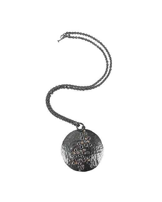 Annie Fensterstock | Black Diamond And Sapphire Luna Pendant Necklace | Lyst