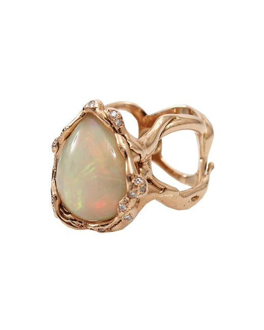 Lucifer Vir Honestus | Pink Opal And Diamond Organic Ring | Lyst