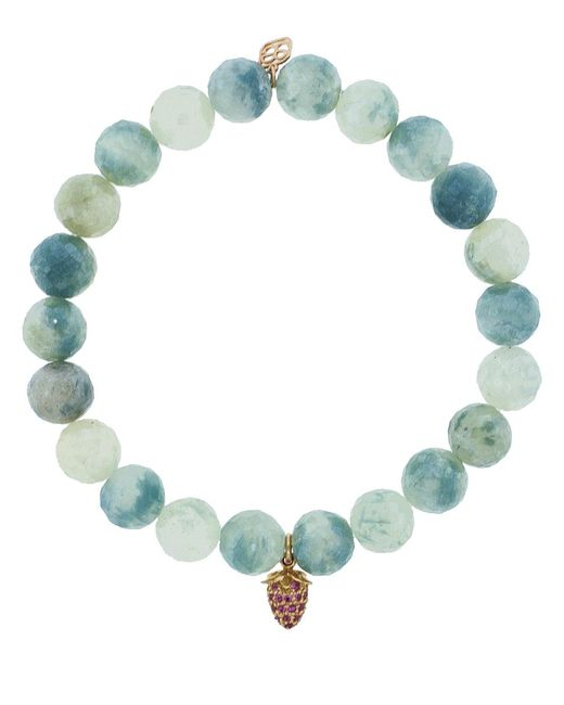 Sydney Evan - Blue Pink Sapphire Pave Strawberry Charm Bracelet - Lyst