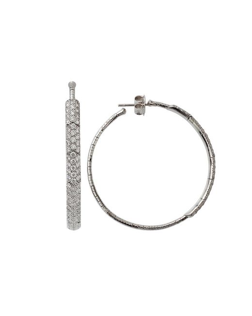 Mattia Cielo - White Rugiada Diamond Pave Hoop Earrings - Lyst