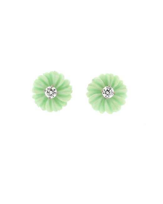 Irene Neuwirth - Carved Green Opal And Diamond Flower Stud - Lyst