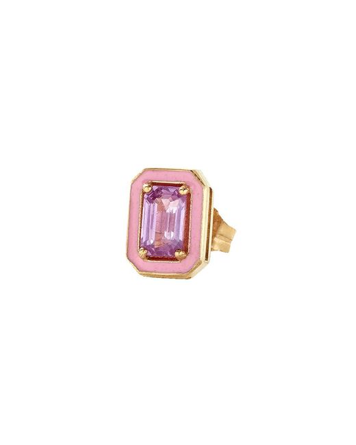Alison Lou | Pink Sapphire And Enamel Stud | Lyst