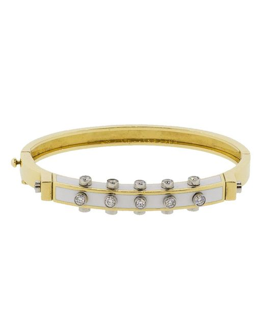 David Webb - Metallic Studlette Diamond White Enamel Bangle - Lyst