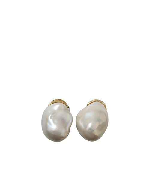 Yvel - Metallic Baroque Fresh Water Pearl Clip Earrings - Lyst