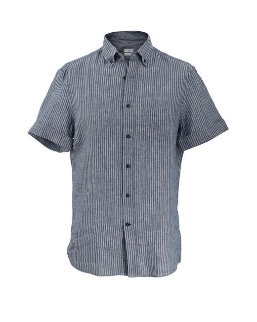 Brunello Cucinelli - Blue Leisure Striped Shirt for Men - Lyst