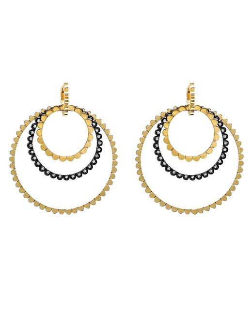 Nancy Newberg - Metallic Four Silver And Diamond Link Hoop Earrings - Lyst