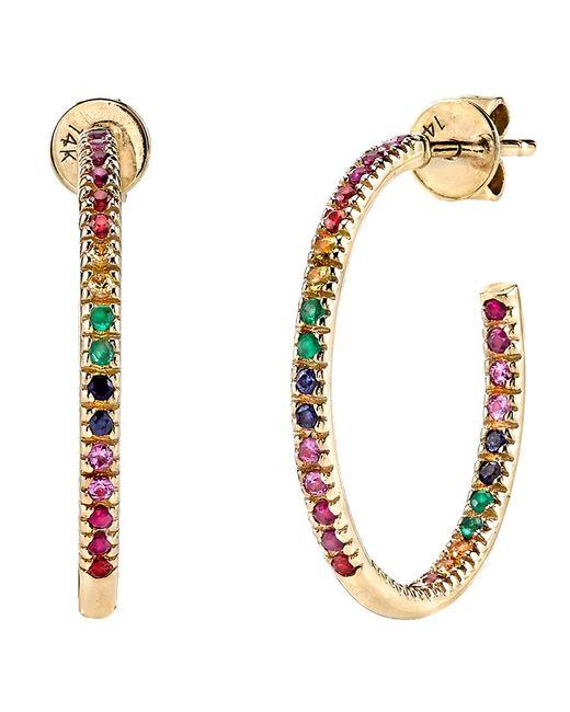 Sydney Evan | Metallic Rainbow Hoop Earrings | Lyst