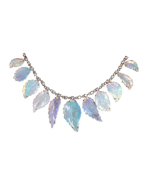 Irene Neuwirth - Blue Carved Opal Leaf Necklace - Lyst