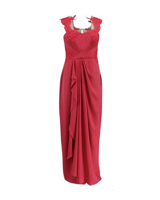 Marchesa notte - Blue Draped Lace Gown - Lyst