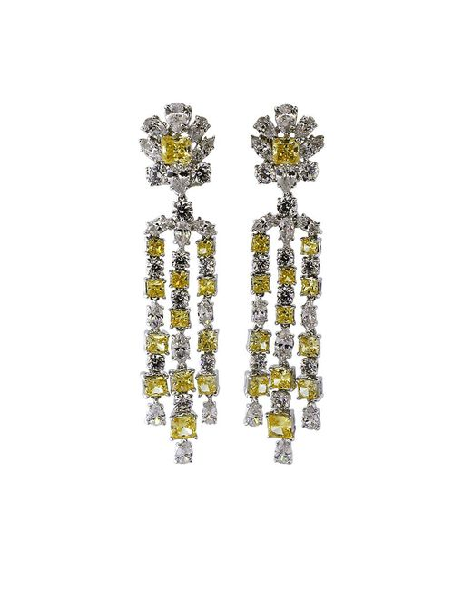Fantasia Jewelry - Multicolor Top Round Canary And Cubic Zirconia Flower Drop Earrings - Lyst